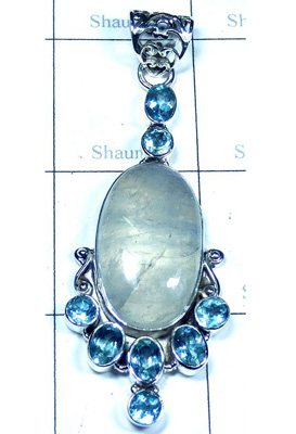 Gorgeous Rainbow Moonstone Pendant-S10P412