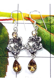 Sterling Silver Citrine Gemstone Earring-S12E008