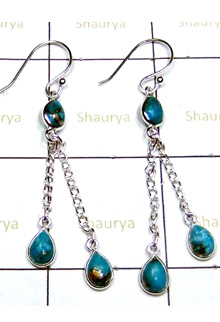 Gorgeous Blue Copper Turquoise Bejel Earrings-S12E025