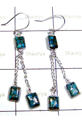 Lovely Blue Turquoise Gemstone Earrings-S12E029