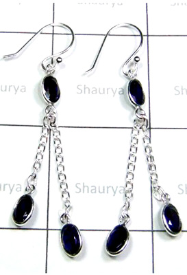 Faceted Iolite Gemstone Earrings-S12E037