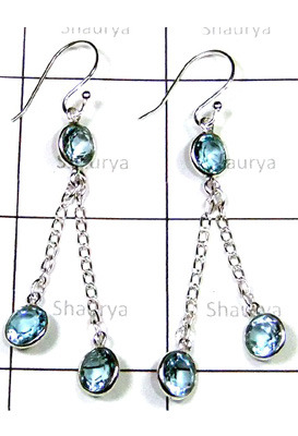 Exclusive silver Blue Topaz Earrings-S12E039
