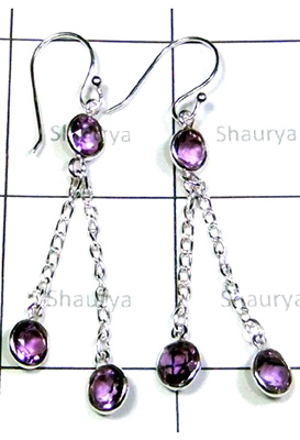 Lovely Cut Amethyst Gemstone Stone Earrings-S12E042
