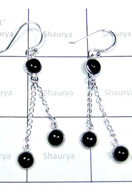 Black Onyx Gemstone Bejel Earrings-S12E045
