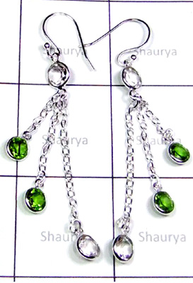 Trendy Crystal with Peridot Cut Bejel Earrings-S12E050