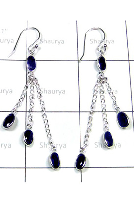 Beautiful Iolite Gemstone Bejel Earrings-S12E051