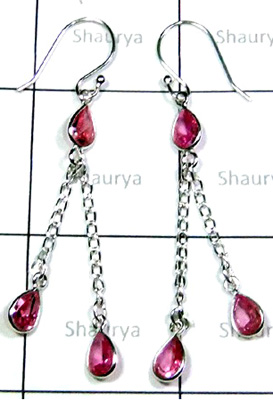 Exclusive Silver Pink CZ Bejel Earrings-S12E052