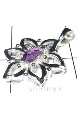 Exclusive Silver Cut Amethyst Gemstone Pendant-S12P012