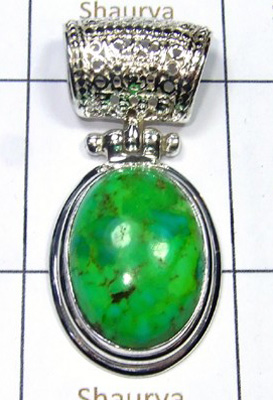 Mohave Green Turquoise 925 Silver Pendant-S12P021