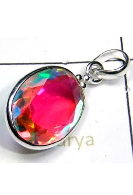 Faceted Rainbow Mystic Pendant-S12P040