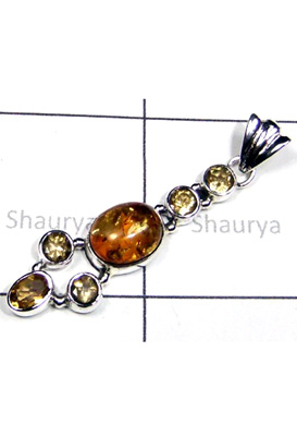 Beautiful Amber And Citrine Gemstone Pendant-S12P049
