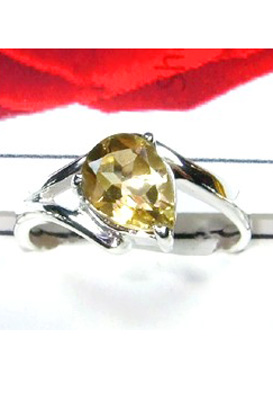 Faceted Citrine Gemstone silver Ring-S12R010