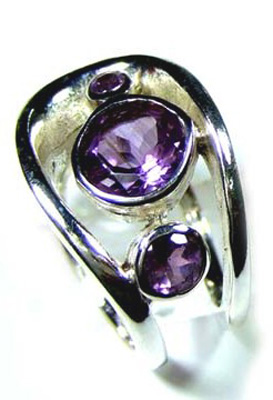 Beautiful Cut Amethyst Designer Ring-S12R011