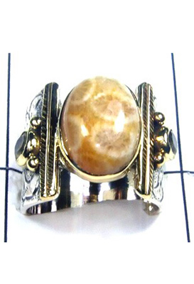 Fossil Coral Gemstone Ring-S12R016