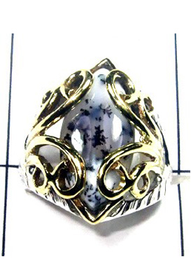 Dendritic agate Gemstone Ring-S12R017