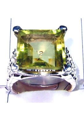 Faceted Lemon Gemstone Casting Ring-S12R019