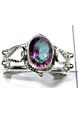 Light weight silver Ring With Mystic Quartz-S12R036