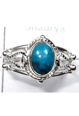 Blue Chrysocolla Light Weight Ring-S12R037