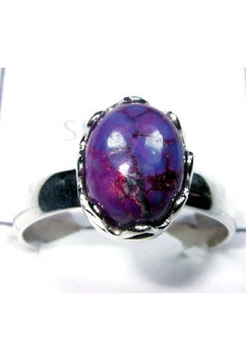 Faceted Purple copper Turquoise silver Ring-S12R038