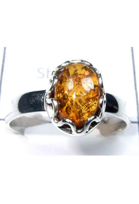 Cabochon Syntactic Amber Ring-S12R039