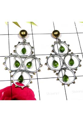 Beautiful Peridot Drop 2 Tone Earring-SAE147