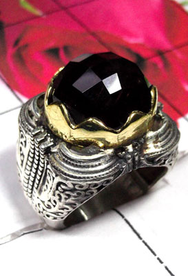 Exclusive silver with Brass Two Tone Onyx cut Ring-SAR771