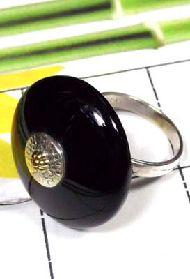 Black Onyx Two Tone Ring-SAR793