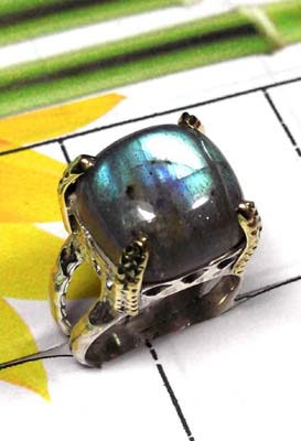 Labradorite Prong setting 2 Tone Ring-SAR843