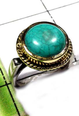 Turquoise Two Tone Ring-SAR847`