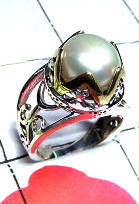 Sterling silver Pearl Two Tone Ring-SAR873