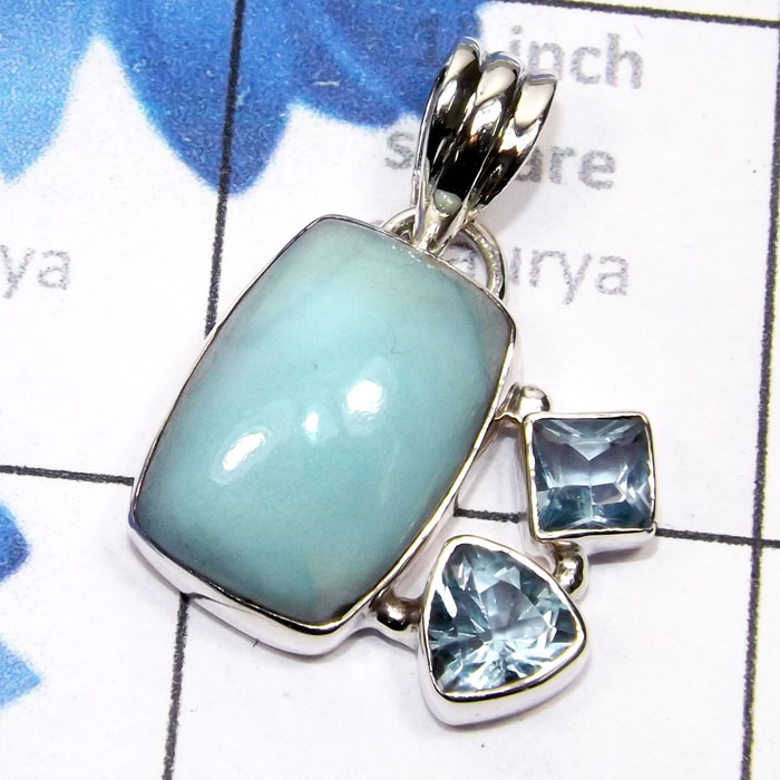 SBA994-925 Sterling Silver Beautiful Pendant Handmade Blue Aragonite With Blue Topaz Gemstone