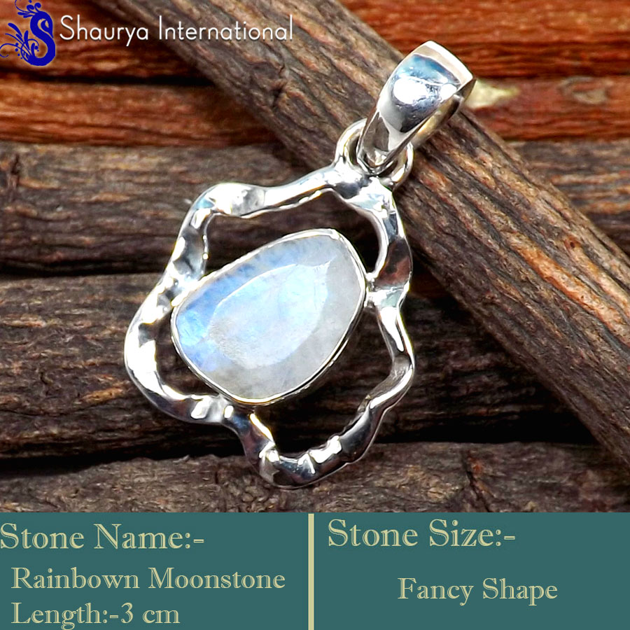 IPC997-925 Sterling Silver Blue Fire Rainbow Moonstone Cut  Party Wear Pendants