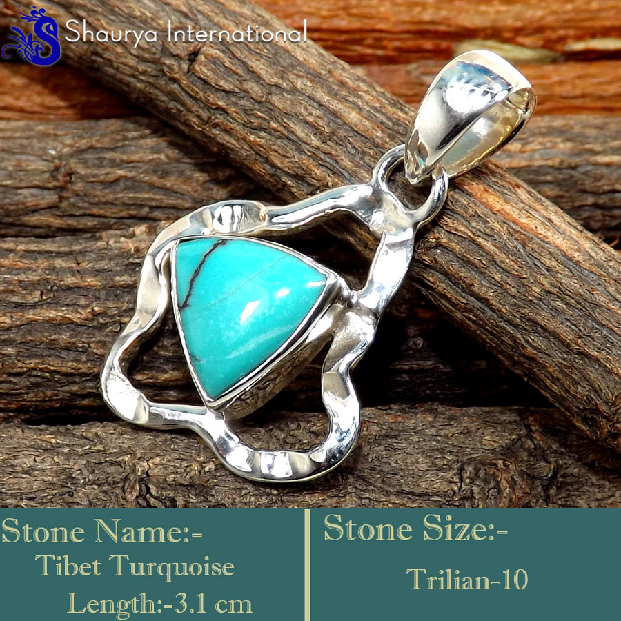 IPC979-Genuine Gemstone Tibet Turquoise 925 Sterling Silver Designer Pendants