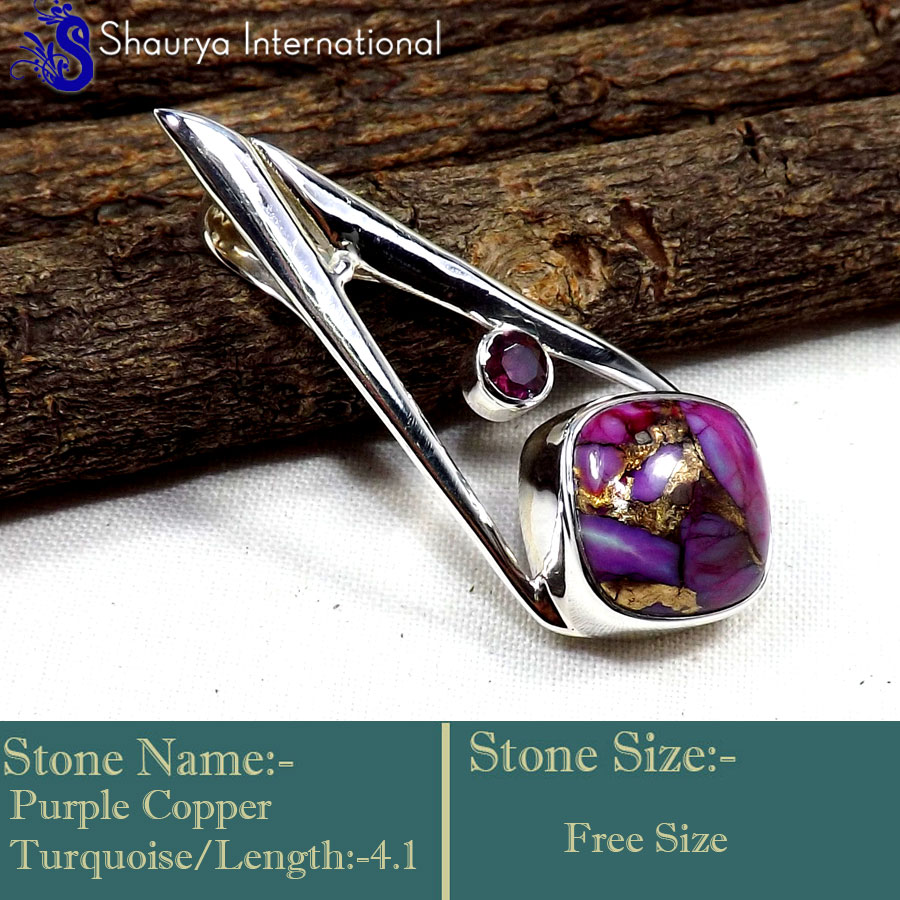 IPC971-Purple Copper Turquoise Gemstone Fashionable Handmade Pendants 925 Sterling Silver