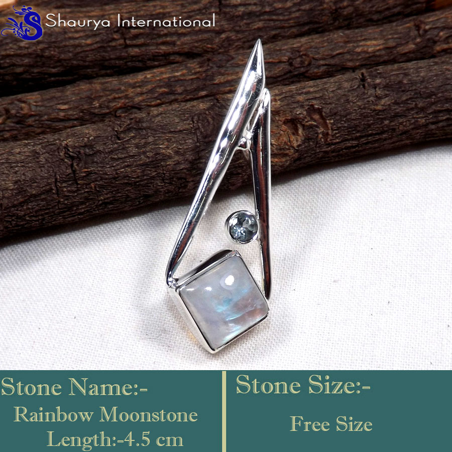 IPC960-Genuine Blue Fire Rainbow Moonstone 925 Sterling Silver Cab Wholesale Pendants