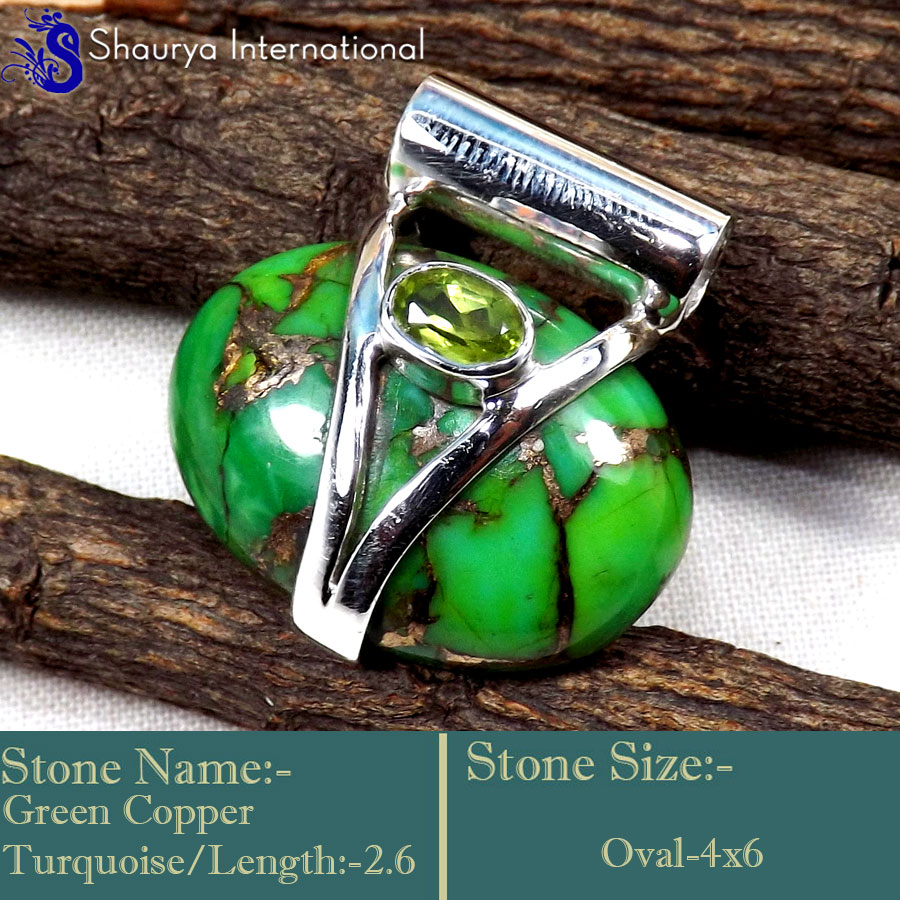 IPC953-Natural Green Copper Turquoise 925 Sterling Silver Designer Pendants