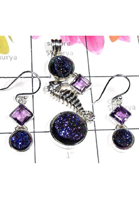 Designer Sea horse Drusy jewelry Set-SEASET007