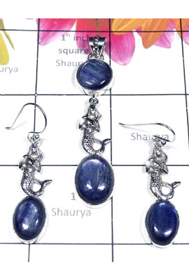 Kyanite gemstone silver Set-SEASET012