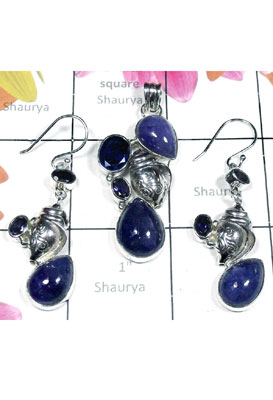 925 Silver with Tanzanite gems Set-SEASET018