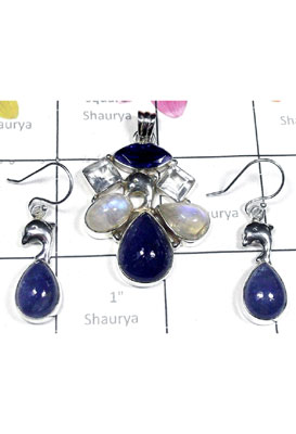 Wholesale silver Tanzanite gems Set-SEASET020