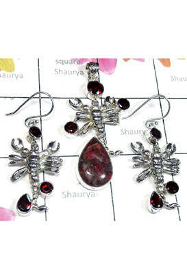 Sterling silver Dinosaur Bone gems Set-SEASET021