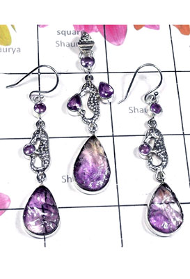Amethyst Rough gemstone Silver Set-SEASET023