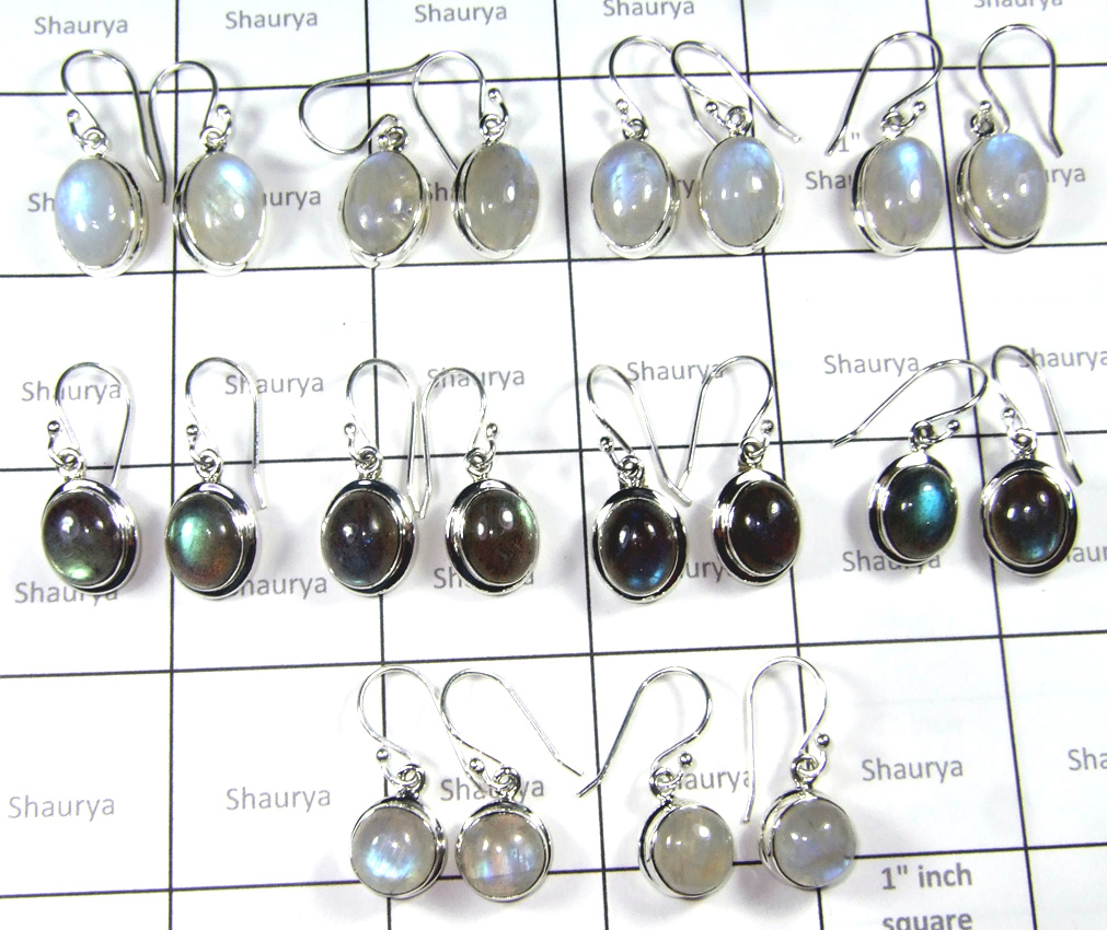 Cab Rainbow And Labradorite Earring-SS6CE007