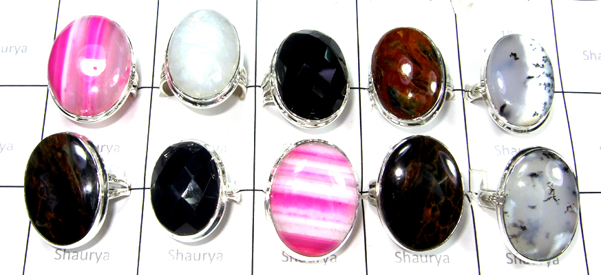 Cab Free Size Multi stones Rings lot-SS6CR002