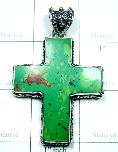 Copper Green Turquoise Cross Pendant-SS6DP001