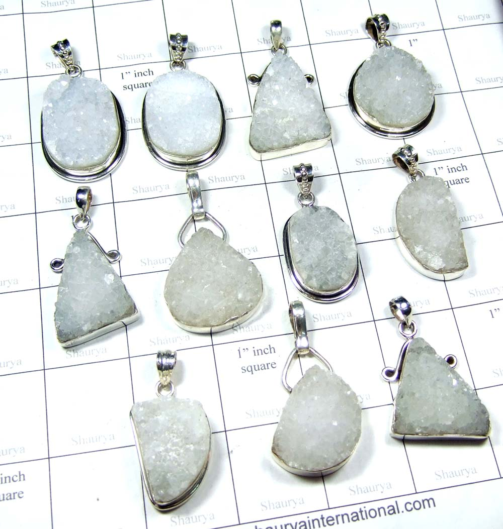 New White Druzy Gemstone Pendants-SS6FP001