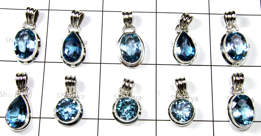 Big Cut Blue Topaz Stone Pendants Lot-SS6FP006