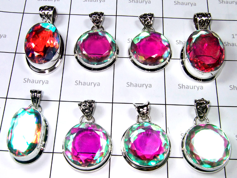 Big Cut Rainbow Mystic Stone Pendants Lot-SS6FP009