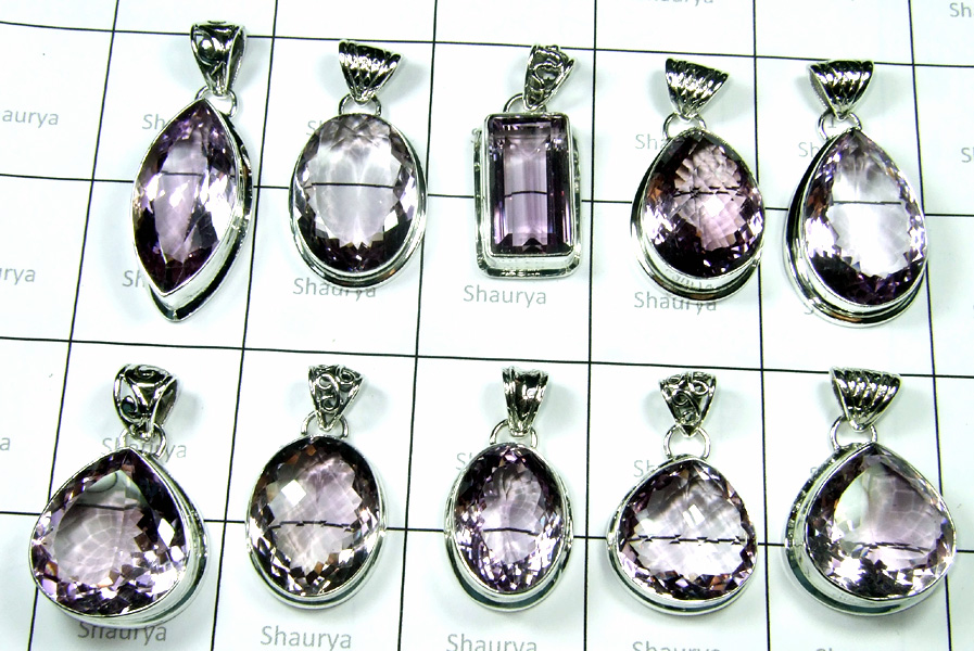 New Cut Pink Amethyst Stone Pendants Lot-SS6FP012