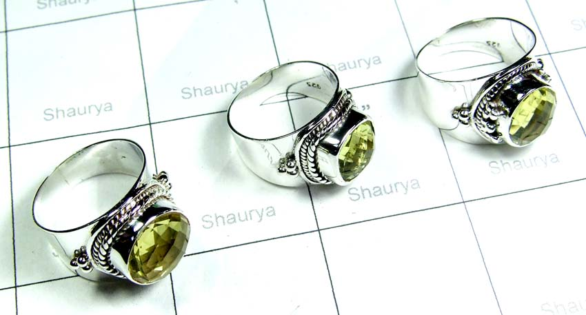 Faceted Lemon Quartz Rings-SS6R002